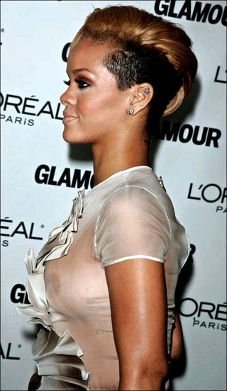 Rihanna White Dress Nip Slip