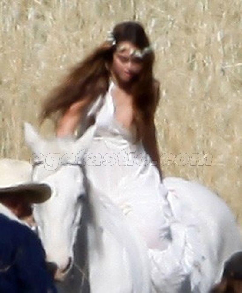 Miley Cyrus White Horse Nip Slip